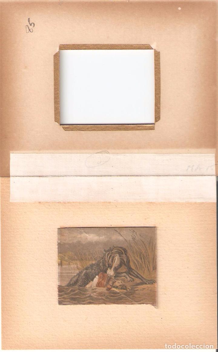 Arte: MINIATURA DE LAMINA COLOREADA A MANO Y RECUADRADA EN CARTULINA CON MARCO DORADO. AUTOR MANSELL - Foto 2 - 79901121
