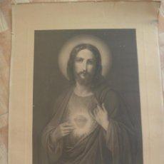 Arte: ESPECTACULAR Y ANTIGUA LÁMINA DEL SAGRADO CORAZON DE JESUS , BILBAO-DEUSTO.. 55 X 75 CM. Lote 80301949