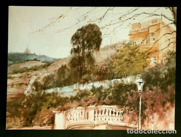 PINTURA DE A. ESTRADA VILARRASA - LAMINA REPRODUCCION - TEMA: BARCELONA EL TIBIDABO (Arte - Láminas Antiguas)