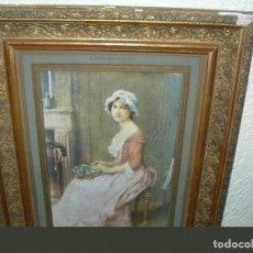 Arte: LÁMINA ENMARCADA - LA ENCAJERA DE CHARLES AMABLE LENOIR. Lote 84754732