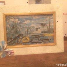 Arte: ANTIGUO CUADRO / MARCO CON LAMINA ENMARCADA DE MARINA CON BARCOS AÑOS 70 . Lote 87678900