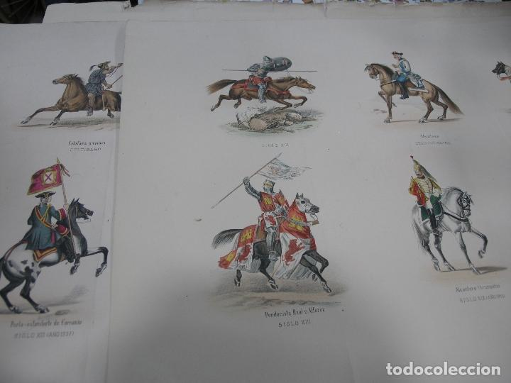 LOTE 3 LÁMINAS GRANDES LITOGRAFÍA CABALLERÍA MILITAR SIGLO XIX. VER FOTOS (Arte - Láminas Antiguas)