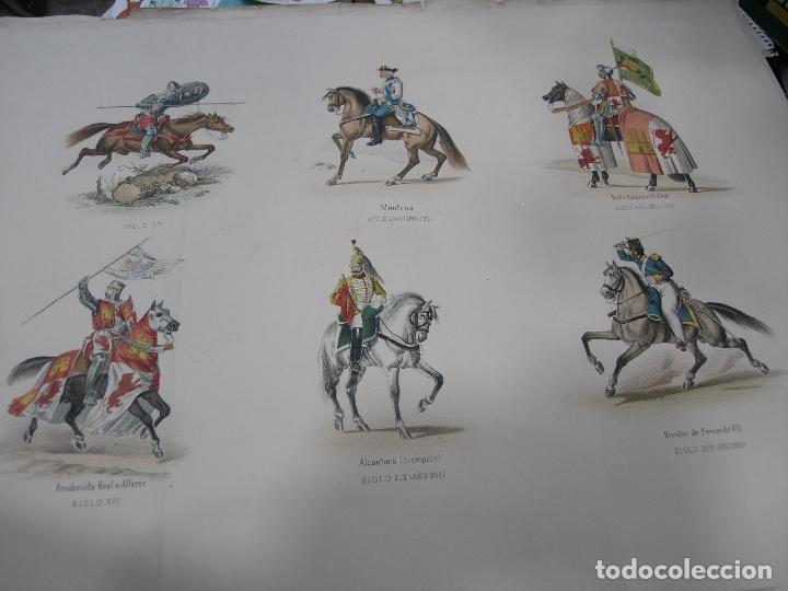Arte: LOTE 3 LÁMINAS GRANDES LITOGRAFÍA CABALLERÍA MILITAR SIGLO XIX. VER FOTOS - Foto 2 - 92421420