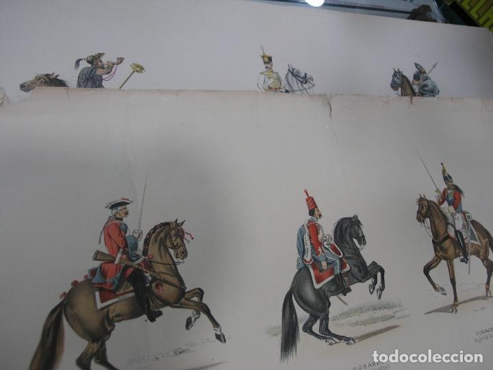 Arte: LOTE 3 LÁMINAS GRANDES LITOGRAFÍA CABALLERÍA MILITAR SIGLO XIX. VER FOTOS - Foto 6 - 92421420