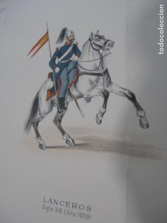 Arte: LOTE 3 LÁMINAS GRANDES LITOGRAFÍA CABALLERÍA MILITAR SIGLO XIX. VER FOTOS - Foto 23 - 92421420