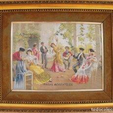 Arte: REPRODUCCION IMPRESO SOBRE LIENZO CARTEL ESCENA COSTUMBRISTA DE LAS BODEGAS DE MALAGA A. PRIES & CO. Lote 95875471