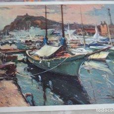 Arte: J. SARQUELLA BARCELONA AL FONDO COLON 44 X 30 CM AÑOS 70 TIENE UNA CAPA DE BARNIZ DE RELIEVE. Lote 96247279