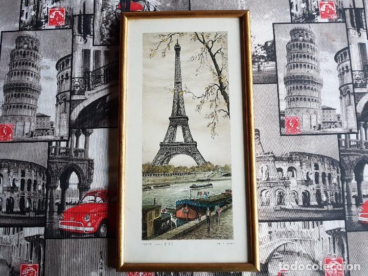 PARIS, TOUR EIFFEL , ORTIZ ALFAU, ENMARCADA, TAL CUAL SE VE. (Arte - Láminas Antiguas)