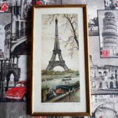 Arte: PARIS, TOUR EIFFEL , ORTIZ ALFAU, ENMARCADA, TAL CUAL SE VE.. Lote 96995755