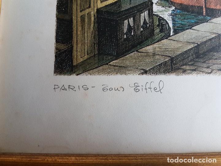 Arte: PARIS, TOUR EIFFEL , ORTIZ ALFAU, ENMARCADA, TAL CUAL SE VE. - Foto 2 - 96995755