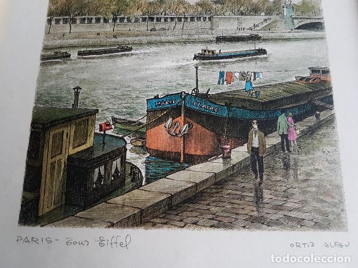 Arte: PARIS, TOUR EIFFEL , ORTIZ ALFAU, ENMARCADA, TAL CUAL SE VE. - Foto 4 - 96995755
