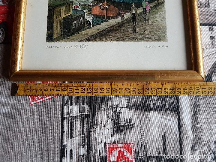 Arte: PARIS, TOUR EIFFEL , ORTIZ ALFAU, ENMARCADA, TAL CUAL SE VE. - Foto 6 - 96995755