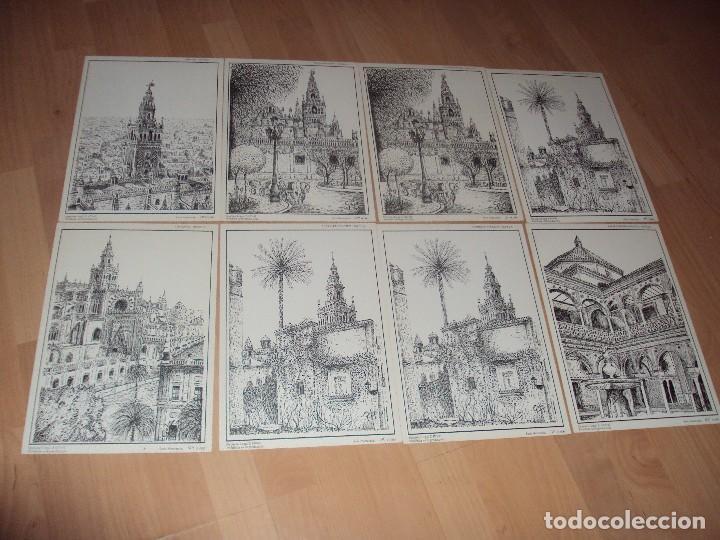 LOTE DE 8 LAMINAS LITOGRAFICAS NUMERADAS Y FIRMADAS DE SEVILLA DE 1992 (Arte - Láminas Antiguas)