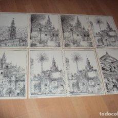 Arte: LOTE DE 8 LAMINAS LITOGRAFICAS NUMERADAS Y FIRMADAS DE SEVILLA DE 1992. Lote 97150843