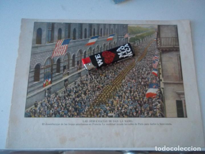 ESPECTACULAR LAMINA ANTIGUA EL DESEMBARQUE DE LAS TROPAS ALEMANAS BIENVENIDA EN CALLES DE PARIS (Arte - Láminas Antiguas)