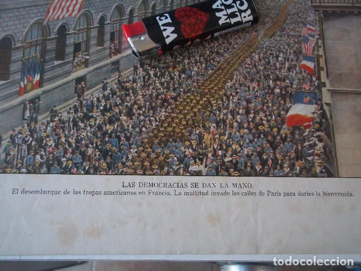 Arte: ESPECTACULAR LAMINA ANTIGUA EL DESEMBARQUE DE LAS TROPAS ALEMANAS BIENVENIDA EN CALLES DE PARIS - Foto 2 - 98577999