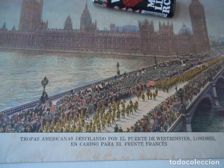 Arte: ESPECTACULAR LAMINA ANTIGUA TROPAS AMERICANAS DESFILANDO POR EL PUENTE WESTMINSTER LONDRES - Foto 2 - 98578163