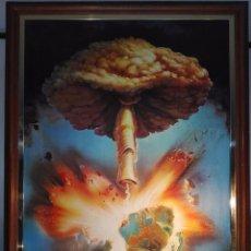 Arte: EXTRAÑO CUADRO CON LÁMINA SOBRE CHAPADO DE EXPLOSIÓN DE BOMBA ATÓMICA EN EL PLANETA TIERRA - 110X80-. Lote 98586907