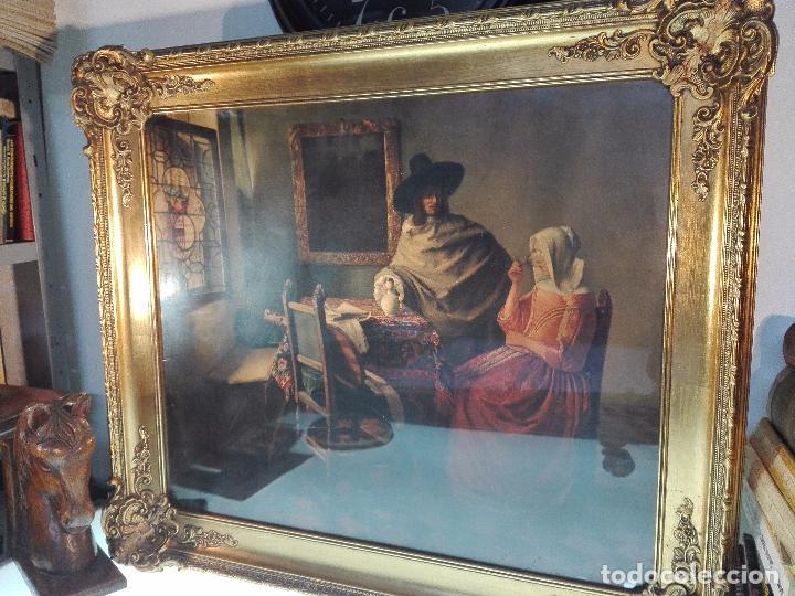 PRECIOSA LÁMINA ANTIGUA DE ESTILO HOLANDESA - ESCENA COSTUMBRISTA - MARCO BELLÍSIMO - 77 X 68 CM - (Arte - Láminas Antiguas)