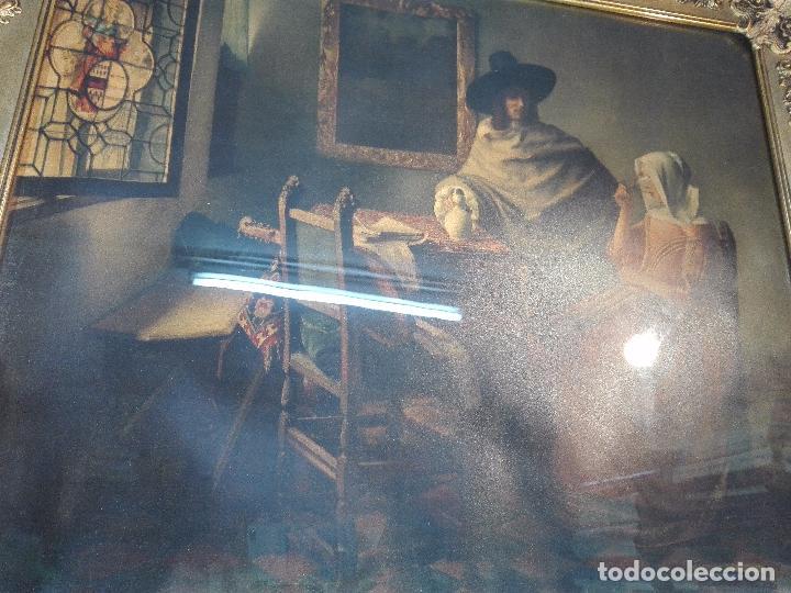 Arte: PRECIOSA LÁMINA ANTIGUA DE ESTILO HOLANDESA - ESCENA COSTUMBRISTA - MARCO BELLÍSIMO - 77 X 68 CM - - Foto 4 - 98587115