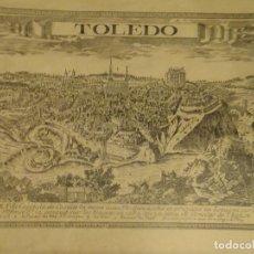 Arte: VISTA ESTAMPADA DE TOLEDO SEGÚN GRABADO DEL S.XVI CON DETALLE ALCAZAR Y CATEDRAL. Lote 104483939