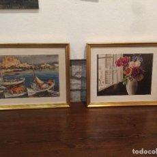 Arte: ANTIGUA PAREJA DE CUADRO / CUADROS LÁMINA / LÁMINAS CON MARINA Y BODEGON FLORAL AÑOS 60-70. Lote 105632607