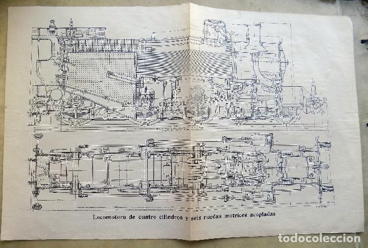 ANTIGUA LAMINA. LOCOMOTORA. DE CUATRO CILINDROS Y SEIS RUIDAS MOTRICES ACOPLADAS. (Arte - Láminas Antiguas)