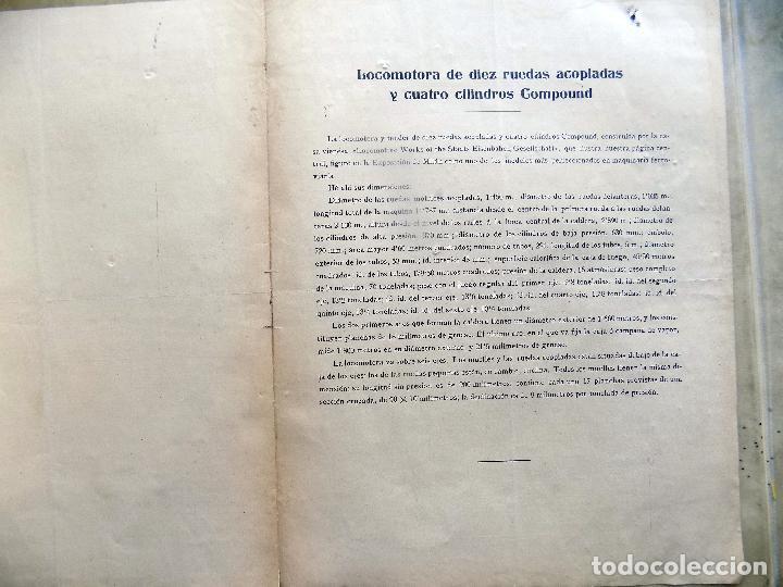 Arte: ANTIGUA LAMINA. LOCOMOTORA CON DIEZ RUEDAS ACOPLADAS Y CUATRO CILINDROS COMPOUND - Foto 2 - 107001303