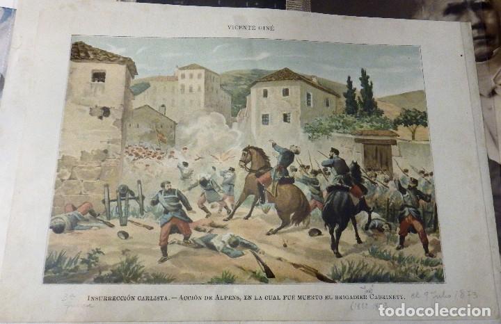 LÁMINA INSURRECCION CARLISTA. ACCION DE ALPENS, EN LA CUAL FUE MUERTO EL BRIGADIER CABRINETY, S/F. (Arte - Láminas Antiguas)