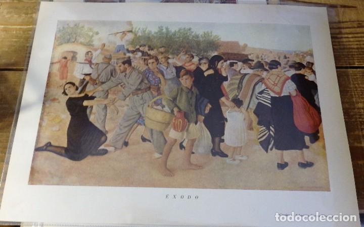 LAMINA ANTIGUA, EXODO, GUERRA CIVIL, SEBASTIAN GARCIA VAZQUEZ, 30X23 CMS (Arte - Láminas Antiguas)