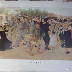 Arte: LAMINA ANTIGUA, EXODO, GUERRA CIVIL, SEBASTIAN GARCIA VAZQUEZ, 30X23 CMS. Lote 108817455