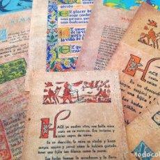 Arte: 7 HOJAS O LÁMINAS EN CORCHO DE VARIAS OBRAS, ENTRE ELLAS EL QUIJOTE DE CERVANTES, RIMAS DE BÉCQUER. Lote 108921743