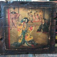 Arte: ANTIGUA IMAGEN JAPONESA SOBRE TABLA - ESCENA JAPONES - JAPON. Lote 111913023