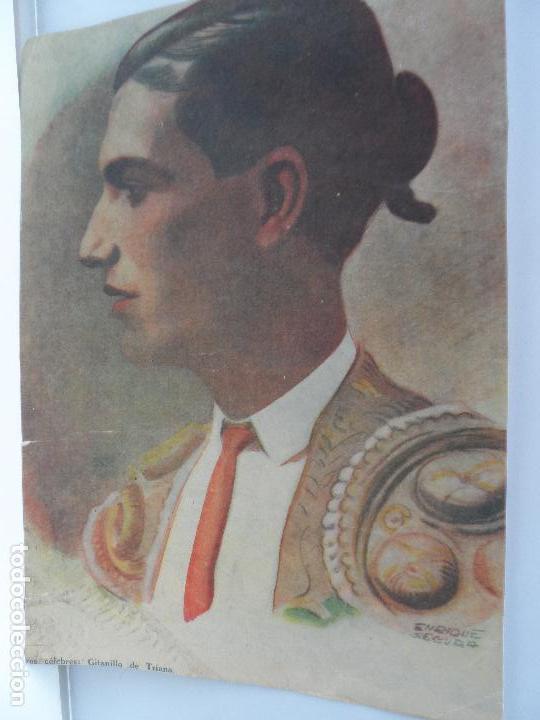LAMINA TOREROS ANTIGUOS GITANILLO DE TRIANA FDO ENRIQUE SEGURA (Arte - Láminas Antiguas)
