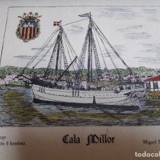 Arte: ACUARELA NAVÍO CALA MILLOR POR CARTÓGRAFO RAMÓN FORMIGUERA. Lote 112110987