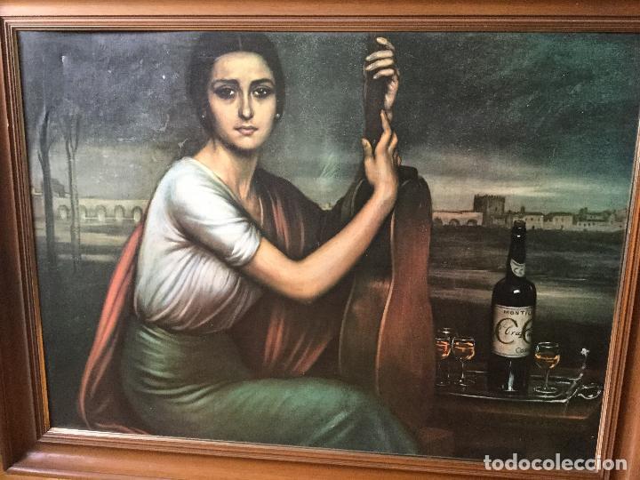 CUADRO LITOGRAFÍA EN LIENZO. JULIO ROMERO DE TORRES. ENORME FORMATO, TAMAÑO REAL (Arte - Láminas Antiguas)