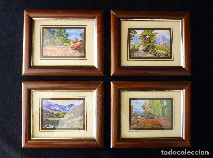 LOTE DE 4 PEQUEÑAS CROMOGRAFÍAS PAISAJES ENMARCADAS. MACO MADERA COLOR NOGAL 16,5X13,5 CM. (Arte - Láminas Antiguas)