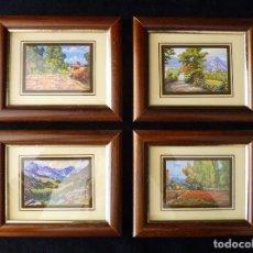 Arte: LOTE DE 4 PEQUEÑAS CROMOGRAFÍAS PAISAJES ENMARCADAS. MACO MADERA COLOR NOGAL 16,5X13,5 CM.. Lote 112983307