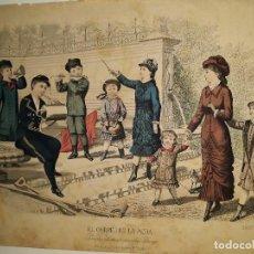 Arte: LAMINA ANTIGUA ,LITOGRAFIA ,PAPEL (FIGURAS CON INSTRUMENTOS MUSICALES ). Lote 113167487