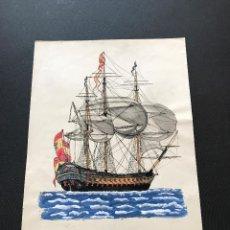 Arte: ACUARELA LAMINA NAVIO SAN JUAN NEPOMUCENO DE 74 CAÑONES CON INSIGNIA D BRIGADIER NAVEGANDO 50X35 CM.. Lote 115719327