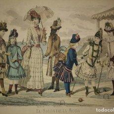 Arte: LAMINA ANTIGUA EL SALÓN DE LA MODA NIÑOS CON PASPARTÚ BISELADO 42 X 34,4 MODA INFANTIL. Lote 116138163