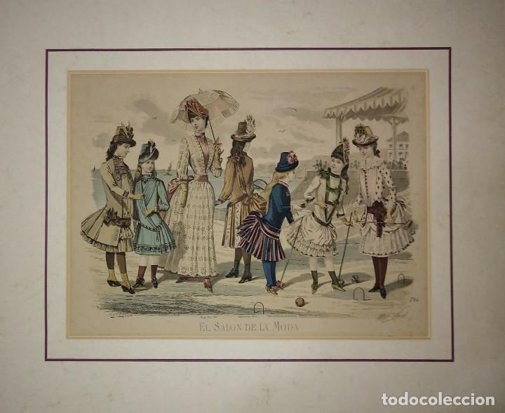 Lamina antigua El salón de la moda NIÑOS con paspartú biselado 42 x 34,4 MODA INFANTIL - 116138163