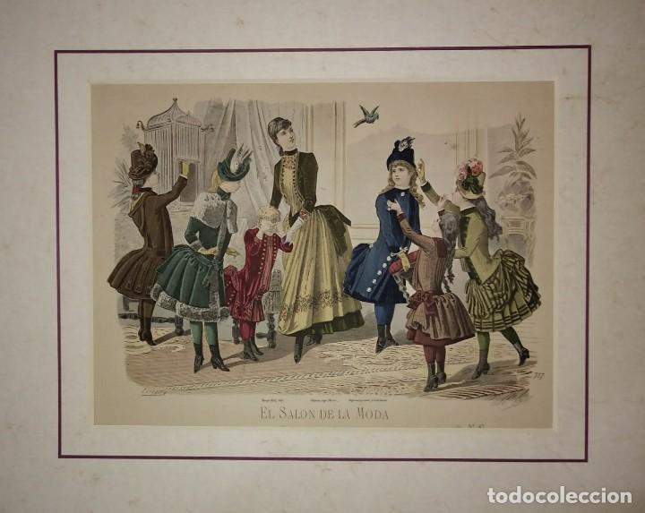 Arte: Lamina antigua El salón de la moda NIÑOS con paspartú biselado 42 x 34,4 MODA INFANTIL - Foto 2 - 116139067