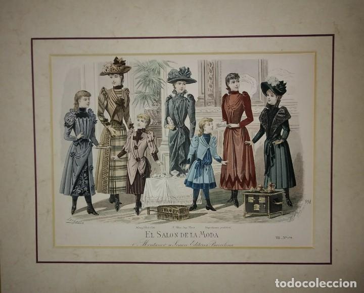Arte: Lamina antigua El salón de la moda NIÑOS con paspartú biselado 42 x 34,4 MODA INFANTIL - Foto 2 - 116139075