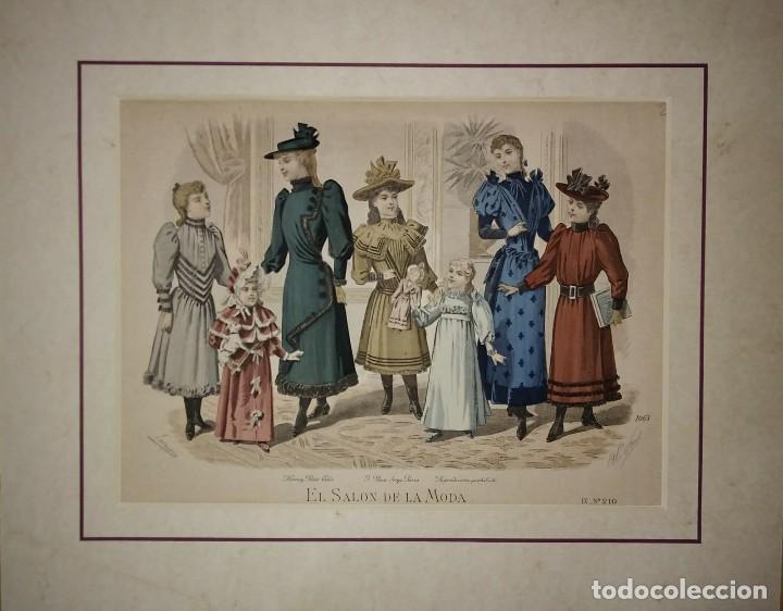 Arte: Lamina antigua El salón de la moda NIÑOS con paspartú biselado 42 x 34,4 MODA INFANTIL - Foto 2 - 116139087
