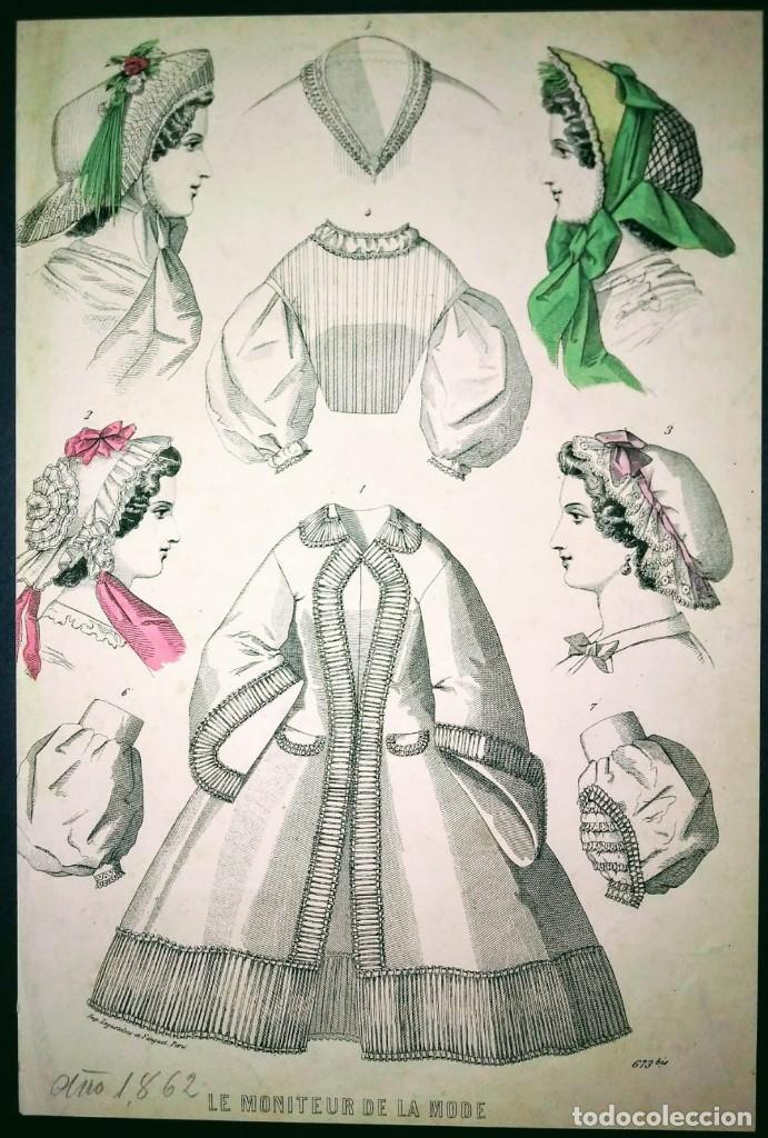 1861 1866 Lote De 11 Laminas Moda Siglo Xix Sombreros Cofias Vestidos época Decoración Boutique