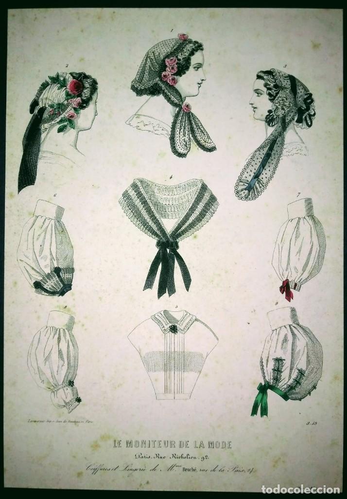 1861-1866 Lote de 11 laminas moda siglo XIX Sombreros, cofias, vestidos época, decoración, boutique - 116167519