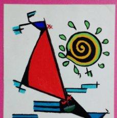 Arte: LAMINA ORIGINAL - VELERO / BARCA -DISEÑO VANGUARDISTA - TINTA / ACUARELA -ART A FERRAN -AÑOS 70 / 80. Lote 116437367