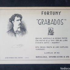 Arte: FORTUNY. GRABADOS. JOSE PEREZ DEL HOYO. AÑO 1978. Lote 116503379
