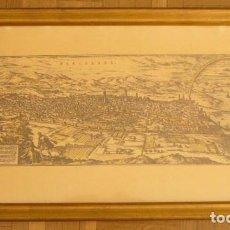 Arte: LAMINA ENMARCADA: VISTA PANORAMICA DE BARCELONA ANTIGUA (1572) (60X32 CM). Lote 116777611
